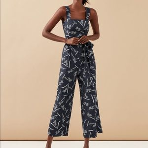 NWT Ann Taylor Pineapple Square Neck Jumpsuit